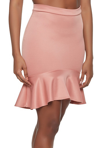 Ruffle Hem Scuba Skirt,MAUVE,large