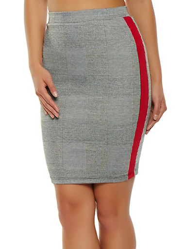 Plaid Side Stripe Pencil Skirt,GRAY,large