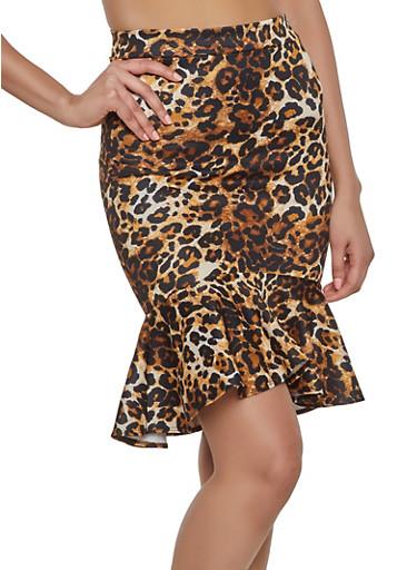 Leopard Scuba Knit Pencil Skirt,BROWN,large