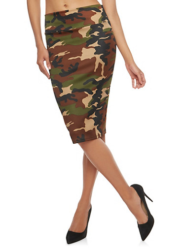 Printed Pencil Skirt,OLIVE,large