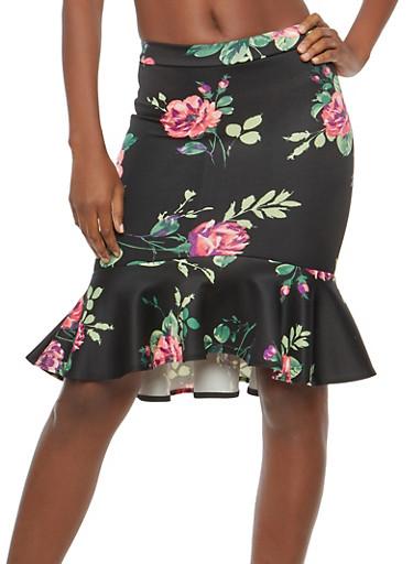 Rose Print Flounce Hem Pencil Skirt,BLK/MAUVE,large