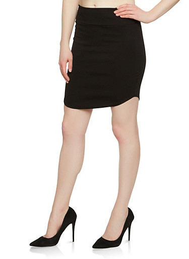 Round Hem Ponte Skirt,BLACK,large
