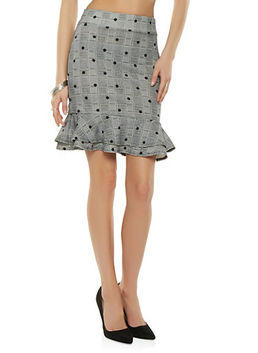 Printed Ruffle Pencil Skirt,BLACK,large