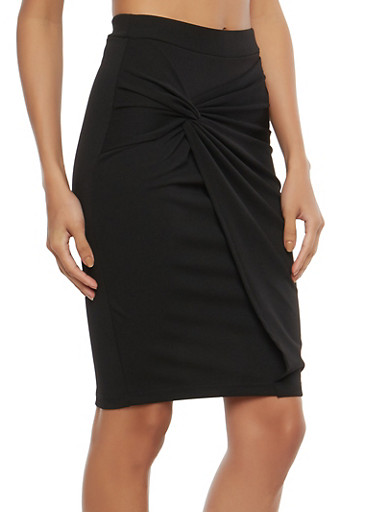 Knot Front Faux Wrap Pencil Skirt | Tuggl
