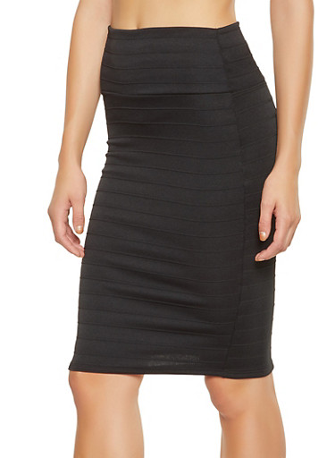 Back Slit Bandage Pencil Skirt,BLACK,large