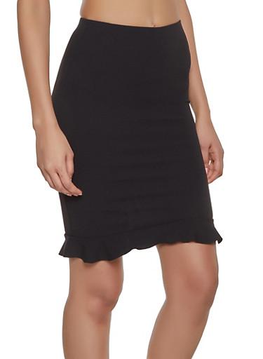 Ruffled Pencil Skirt,BLACK,large