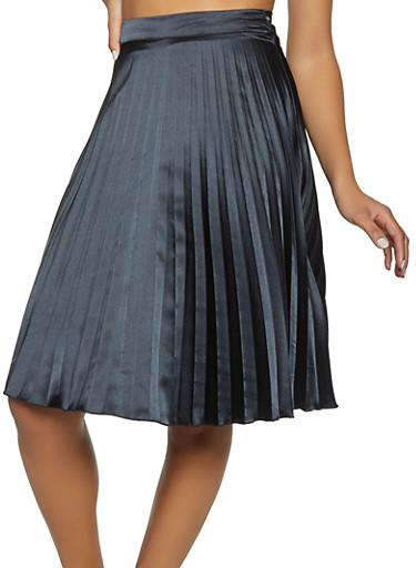 Satin Pleated Skater Skirt,BLACK,large