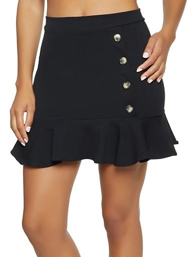 Button Detail Flounce Hem Skirt,BLACK,large