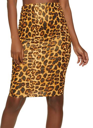 Ruched Animal Print Skirt,BLACK,large