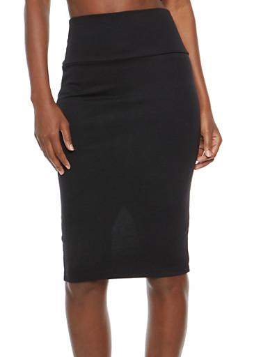 Back Slit Pencil Skirt,BLACK,large