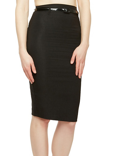 Back Slit Belted Pencil Skirt,BLACK,large