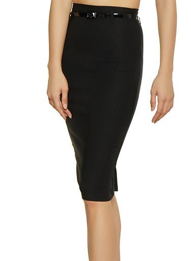 Belted Stretch Pencil Skirt,BLACK,large