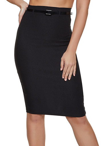 High Waisted Belted Stretch Pencil Skirt,BLACK,large