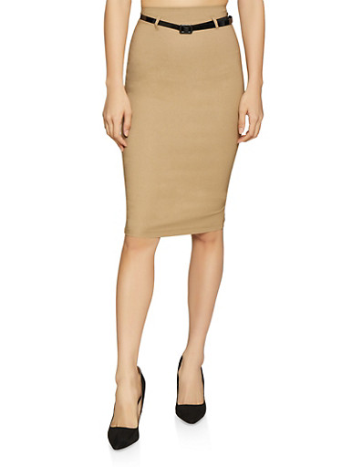 Belted Pencil Skirt,KHAKI,large