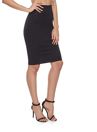 Ponte Knit Pencil Skirt,BLACK,large