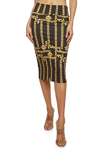 Soft Knit Chain Print Pencil Skirt,BLACK,large