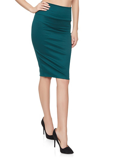 Solid Midi Pencil Skirt,HUNTER,large