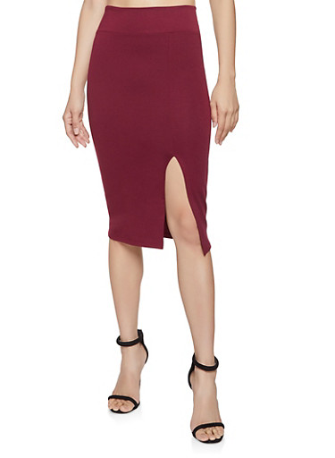 High Waisted Midi Pencil Skirt,WINE,large