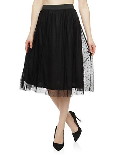 Polka Dot Mesh Skater Skirt,BLACK,large