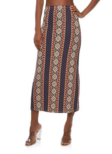 Soft Knit Border Print Maxi Skirt | Tuggl