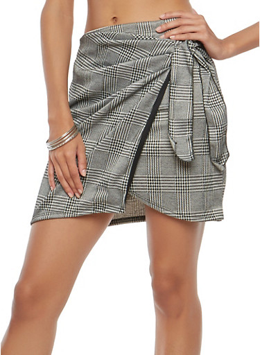 Plaid Tie Front Wrap Skirt,GRAY/BLK,large