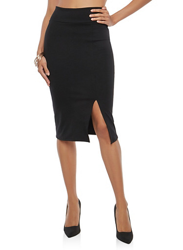 High Waisted Penci Skirt,BLACK,large