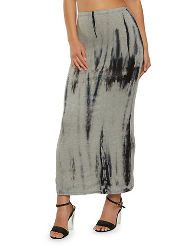 Tie Dye Maxi Skirt,NAVY,large
