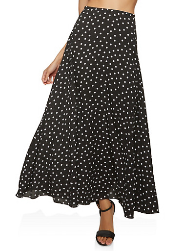 Polka Dot Maxi Skirt,BLACK/WHITE,large