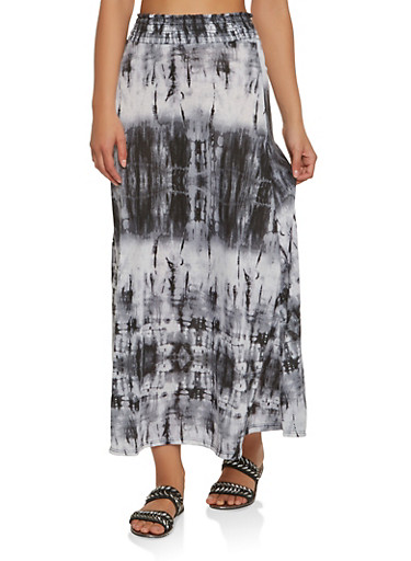 Tie Dye Maxi Skirt,BLACK,large