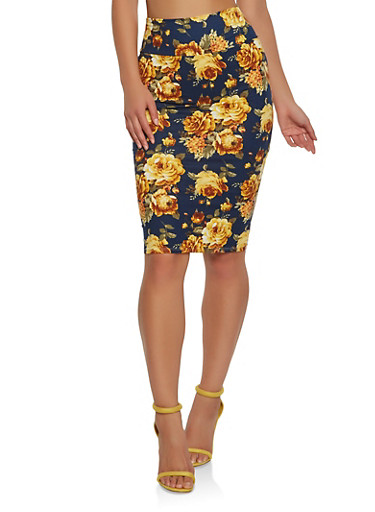 Soft Knit Printed Pencil Skirt | Tuggl