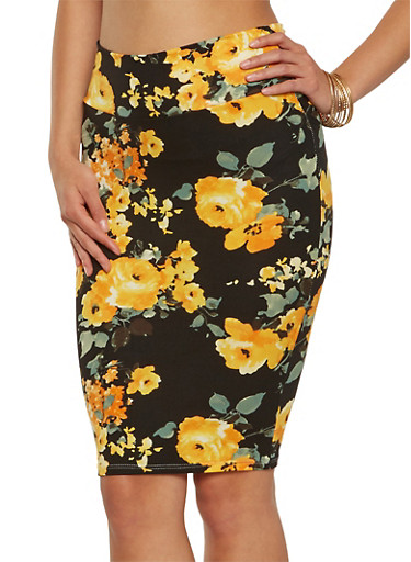 Soft Knit Printed Pencil Skirt,YELLOW,large