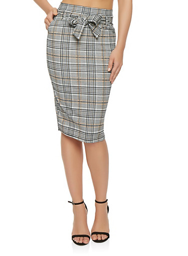 Plaid Tie Front Pencil Skirt,GRAY,large