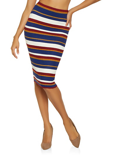 Striped Ribbed Knit Pencil Skirt,NAVY,large