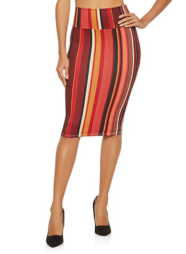 Striped Soft Knit Pencil Skirt,BLACK,large