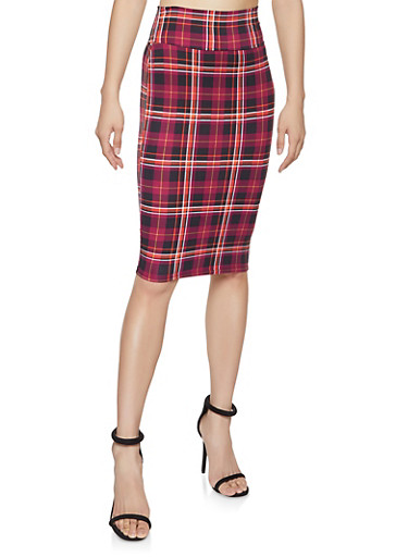 Plaid Pencil Skirt,WINE,large
