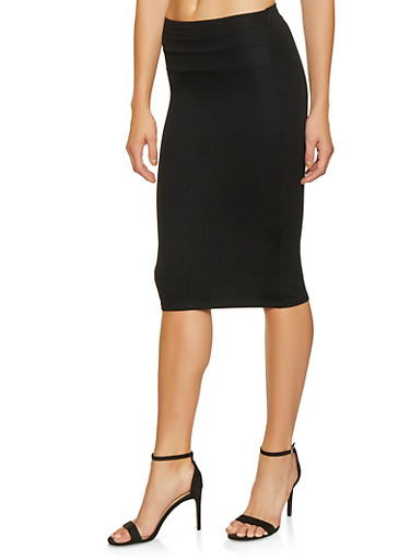 High Waisted Pencil Skirt,BLACK,large