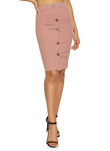 Button Detail Pencil Skirt,MAUVE,large