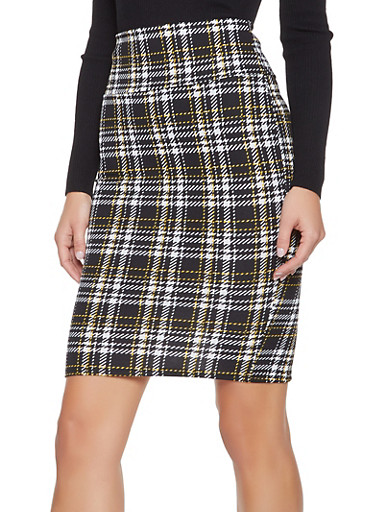 High Waisted Plaid Pencil Skirt,MUSTARD,large