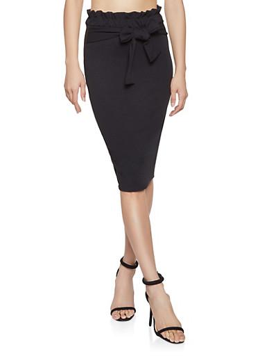 Paper Bag Waist Pencil Skirt,BLACK,large