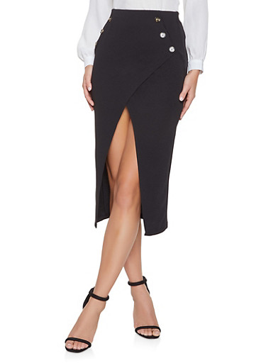 Asymmetrical Midi Pencil Skirt,BLACK,large