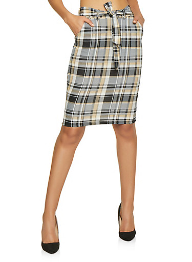 Tie Front Plaid Pencil Skirt,BROWN,large