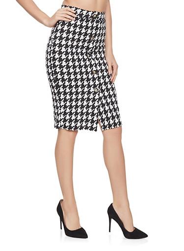 Houndstooth Pencil Skirt,BLACK/WHITE,large