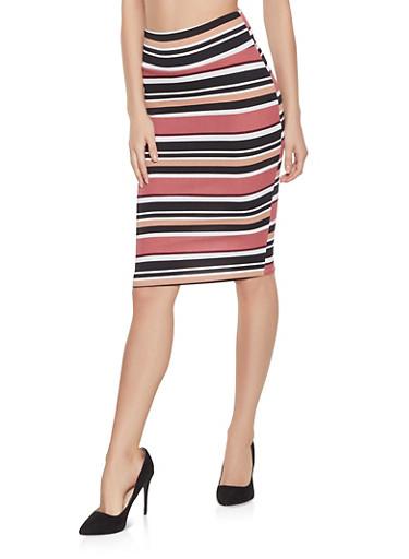 Striped Pencil Skirt,MAUVE,large