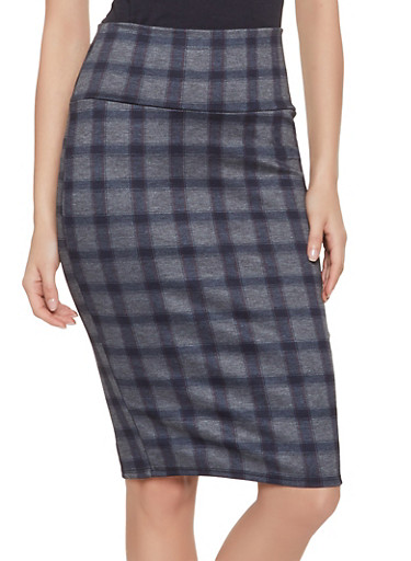 Plaid Pencil Skirt,CHARCOAL,large