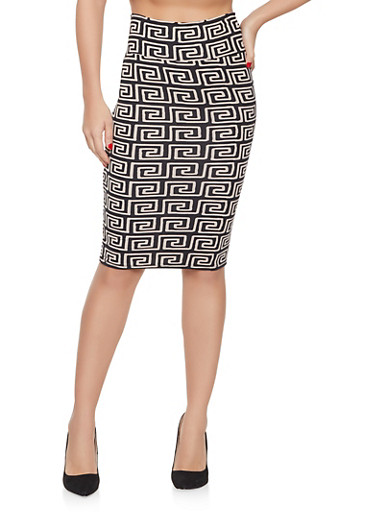 Geometric Print Pencil Skirt,BROWN,large