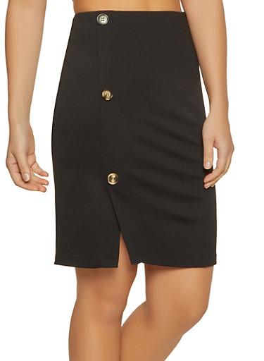 Button Detail Ponte Pencil Skirt,BLACK,large