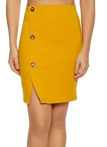 Button Detail Ponte Pencil Skirt,MUSTARD,large