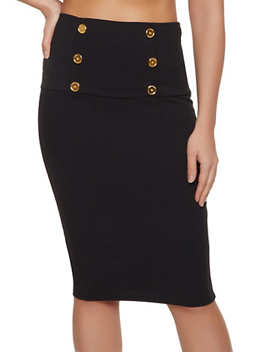 Textured Knit Sailor Pencil Skirt,BLACK,large