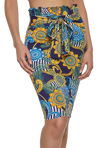 Printed Tie Front Pencil Skirt,NAVY,large