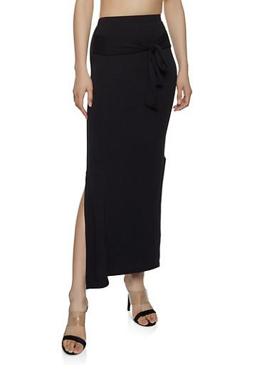 Tie Waist Maxi Pencil Skirt,BLACK,large